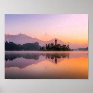 Bled Slovenia at Sunset Poster