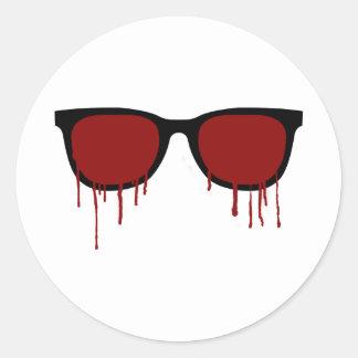 Bleeding Glasses Classic Round Sticker
