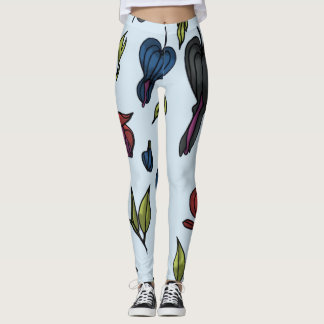 bleeding heart flower leggings