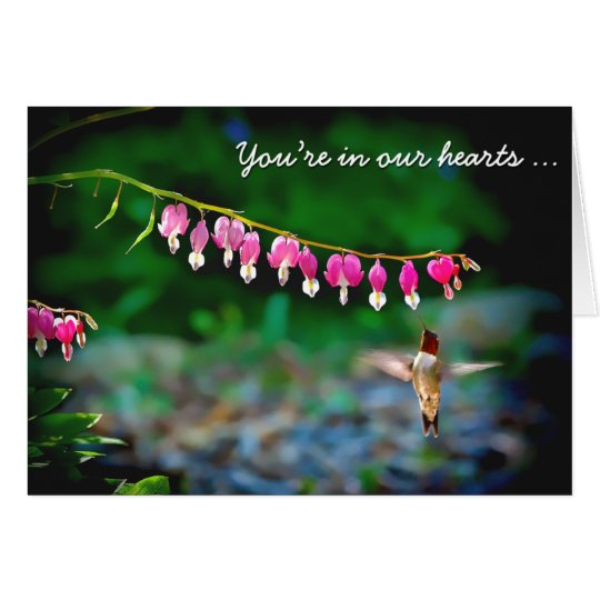 Bleeding Hearts Hummingbird Thinking of You Card