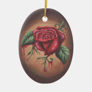 Bleeding Red Rose Ornament Flower Ornament