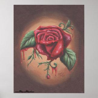 Bleeding Rose Poster Rose Art Flower Poster