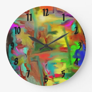 Blending Colors Digital Abstract w Numbers Clock