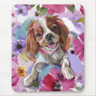 Blenheim Cavalier Floral Dog Art Mouse pad