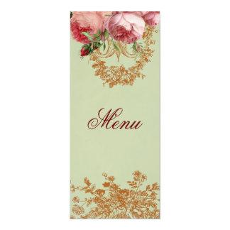 Blenheim Rose- Elegant Sage Green Menu 10 Cm X 24 Cm Invitation Card
