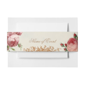 Blenheim Rose - Summer Sky Card Beautifully romant Invitation Belly Band