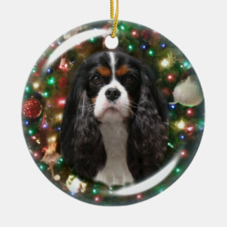 Blenheim & Tricolor Cavalier King Charles Spaniel Ceramic Ornament