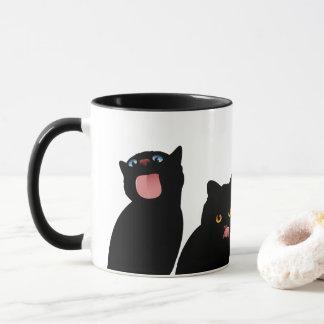 Blep! Black Cats Licking Windows Mug