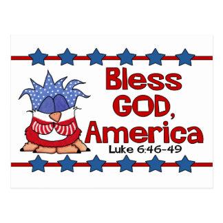 Bless God, America- Luke 6:46-49-Birds of Pray Postcard