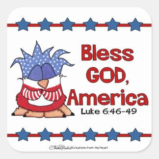 Bless God, America- Luke 6:46-49-Birds of Pray Square Sticker