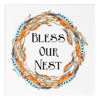 Bless Our Nest Boho Feathers Acrylic Wall Art
