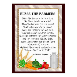 Bless the Farmers poem postcard