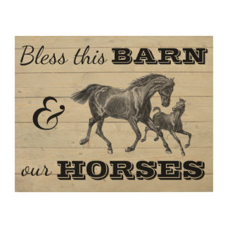 "Bless This Barn & Our Horses 14""x11"" Wood Wall Art"
