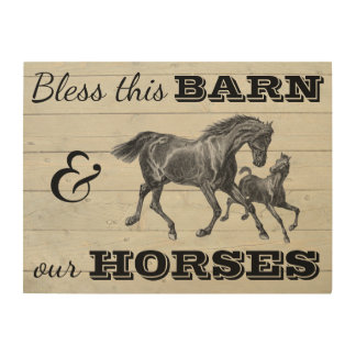 """Bless This Barn & Our Horses 24""""x18"""" Wood Wall Art"""