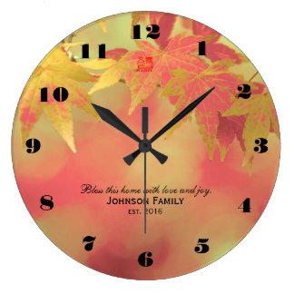 Bless This Family Warm Autumn Maple Wedding Custom Clocks