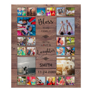 Bless this Family with love 24 Photo Collage Poster