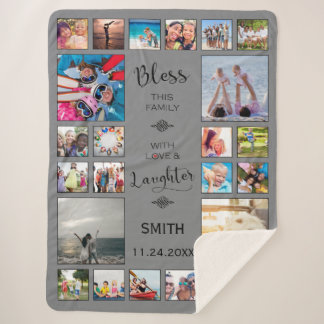 Bless this Family with love 24 Photo Collage Sherpa Blanket