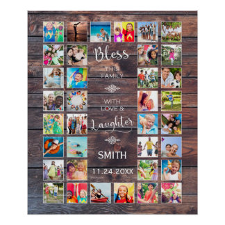 Bless this Family with love 32 Photo Collage Poster