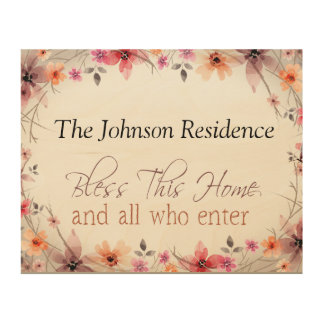 Bless this home, add your own family name, style 2 wood print