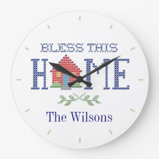 Bless This Home Cross Stitch Embroidery Wallclock