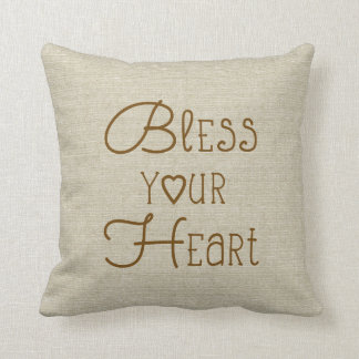 Bless Your Heart burlap-look custom name Cushion