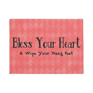 Bless Your Heart Faux Diamond Background Doormat