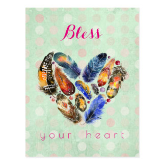 Bless Your Heart Inspirational With Feather Heart Postcard