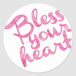 Bless Your Heart Pink Sparkle Round Sticker