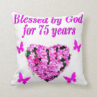 BLESSED 75TH BIRTHDAY FLORAL DESIGN CUSHION