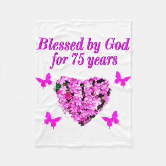 BLESSED 75TH BIRTHDAY FLORAL DESIGN FLEECE BLANKET