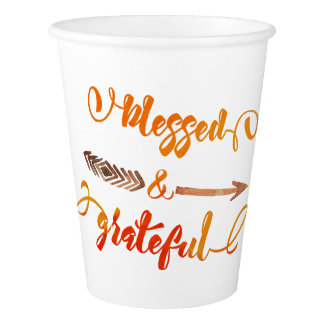 blessed and grateful thanksgiving paper cup