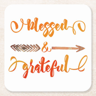 blessed and grateful thanksgiving square paper coaster