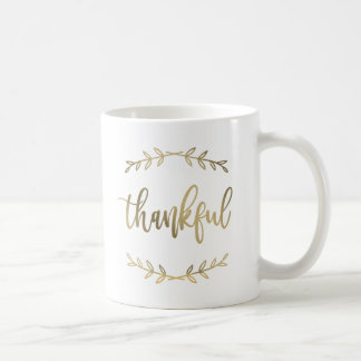 Blessed and Thankful Pretty Mug Faux Gold Foil
