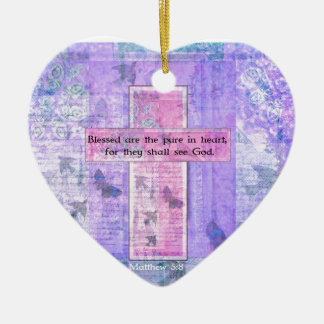Blessed are the pure in heart BIBLE VERSE Ceramic Heart Decoration