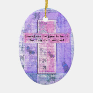 Blessed are the pure in heart BIBLE VERSE Ceramic Oval Decoration