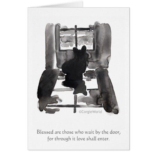 """""""Blessed Are Those Who Wait"""" Corgi Beatitude Card"""