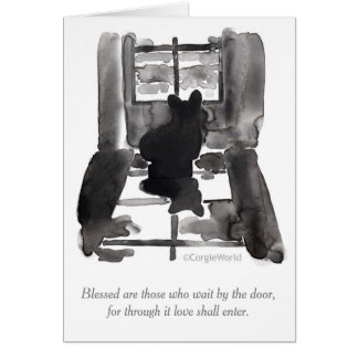 """Blessed Are Those Who Wait"" Corgi Beatitudes Card"