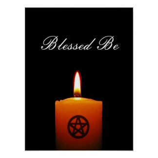 Blessed Be Pagan Candle with Pentacle Poster