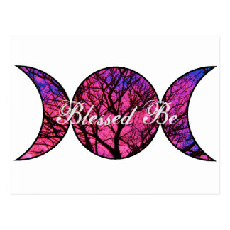 """Blessed Be"" Triple Moon Goddess Symbol, Pink Postcard"