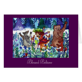 Blessed Beltane Forest Dance Greeting Card