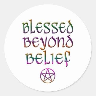blessed beyond belief round sticker