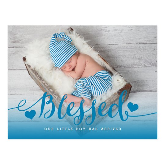 Blessed | Blue Baby Boy Photo Birth Announcement Postcard