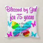 BLESSED BUTTERFLY 75TH BIRTHDAY DESIGN CUSHION
