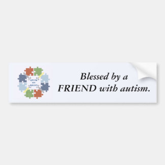 Blessed by a FRIEND with autism - Butterflies Bumper Sticker