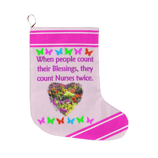 BLESSED BY A NURSE LARGE CHRISTMAS STOCKING