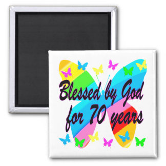 BLESSED BY GOD 70TH BUTTERFLY DESIGN MAGNET