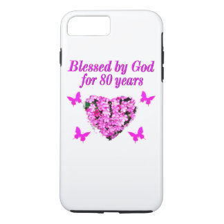 BLESSED BY GOD FOR 80 YEARS FLORAL DESIGN iPhone 7 PLUS CASE