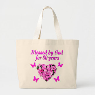 BLESSED BY GOD FOR 80 YEARS FLORAL DESIGN LARGE TOTE BAG