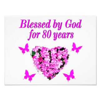 BLESSED BY GOD FOR 80 YEARS FLORAL DESIGN PHOTOGRAPH
