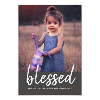 Blessed Casual Script Holiday Photo Card